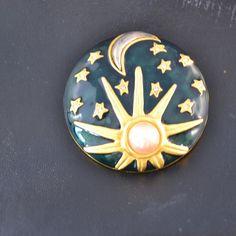 Vintage Karl Lagerfeld Sun Moon Stars Brooch/Pin From 1980s