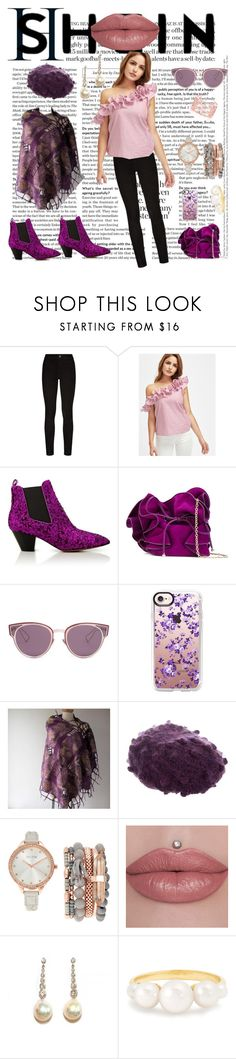 """Whats News    Shein: Ruffled pink top"" by bluehatter ❤ liked on Polyvore featuring Paige Denim, Marc Jacobs, Nina Ricci, Christian Dior, Casetify, Eugenia Kim, Jessica Carlyle and Irene Neuwirth"