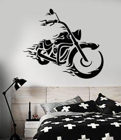 Vinyl Wall Decal Cool Bike Motorbike Biker Fire For Man Stickers (2246ig)