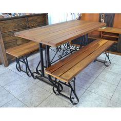 Mesa com Bancos de madeira com pés de ferro - 2738 #arte #moveis #rusticos - www.artemoveisrusticos.com.br