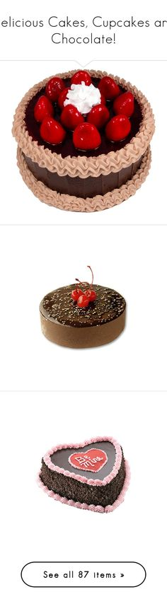 """""""Delicious Cakes, Cupcakes and Chocolate!"""" by renete ❤ liked on Polyvore featuring food, cakes, comida, fillers, food and drink, cake, sweets, chocolate, filler and home"""