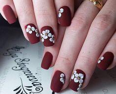 Ногтеманияк   Маникюр, ногти, идеи дизайна Maroon Nail Designs, 3d Nail Designs, Minimalist Nails, Maroon Nails, Red Nails, Wine Nails, Bridal Nail Art, Finger Nail Art, Luxury Nails