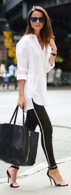 street style  White shirt , skinny jeans with a white stripe on the side