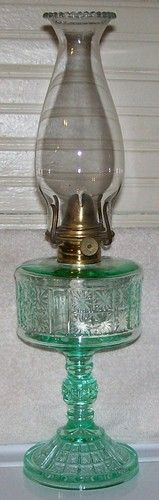 Pittsburgh PA Apple Green Vaseline Uranium Glass Glows EAPG Two Panel Oil Lamp