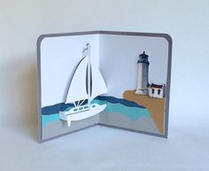 SAILBOAT and LIGHTHOUSE NAUTICAL PopUp 3D Card. Home by BoldFolds, $25.00