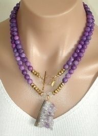 CLICK HERE TO BUY: www.etsy.com/...  Ashira Purple Sugilite Gemstone Necklace and Druzy Amethyst Pendant with Gold Filled Toggle, $225, Trish Regan