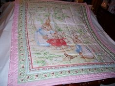 Handmade Baby Peter Rabbit Girl's Cotton Baby/Toddler Quilt-Newly Made 2013 on Etsy, $40.00