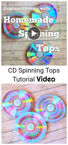 Make spinning tops using old CDs! Fun craft for kids and science activity to explore physics. (Meets NGSS for Kindergarten- pushes and pulls)