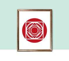geometric wall art, red wall art, rose digital download, abstract flower art, instant download, retro floral poster, red wall decor, pdf jpg