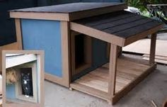 These dog houses are built from Law Enforcement dog house plans for one dog, two dogs, or three dogs. Double Dog House, Dog House With Porch, Dog House Bed, Build A Dog House, Dog House Plans, Dog Bed, Cabin Plans, Custom Dog Houses, Cool Dog Houses