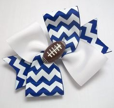 Blue And White Football Boutique Hair Bow by JustinesBoutiqueBows