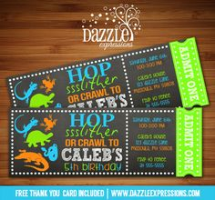 Printable Chalkboard Reptile Ticket Birthday Invitation | Hop, Slither or Crawl | Alligator, Snake, Lizard | Digital File | Kids Birthday Party Idea | FREE thank you card | Party Package Available | Banner | Cupcake Toppers | Favor Tag | Food and Drink Labels | Signs | Candy Bar Wrapper | www.dazzleexpressions.com