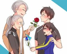 Viktor, Yuuri, cute, young, childhood, different ages, time lapse, flowers, rose, blue, red, blushing, yaoi; Yuri!!! on Ice
