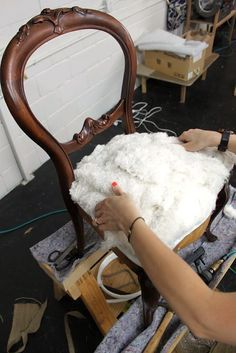 Upholstery Basics: Constructing Coil Seats — Part 2 Reupholster Furniture, Furniture Repair, Upholstered Furniture, Furniture Makeover, Painted Furniture, Diy Furniture, Coaster Furniture, Living Room Upholstery, Upholstery Tacks