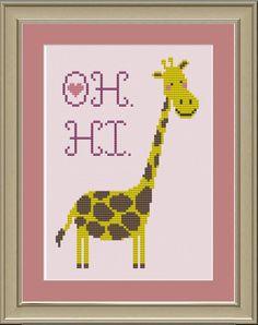Oh. Hi. Cute giraffe cross-stitch pattern. $3.00, via Etsy.