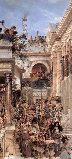 Spring, (1894), oil on canvas,179.2 x 80.3 cm, J. Paul Getty Museum, Los Angeles. It depicts the festival of Cerealia in a Roman street. One of Tadema's most famous and popular works, it took him four years to complete. The models for many of the participants and spectators were Tadema's friends and members of his family.   From Wikipedia