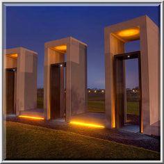 Portals of Bonfire Memorial in twilight on campus...M University. College Station, Texas