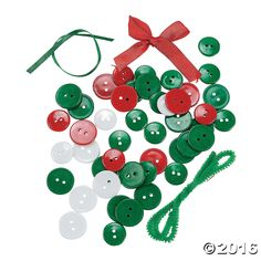 String the buttons together to make your own Christmas ornaments! A great family craft activity, these ornaments also make great Christmas gifts or package ...
