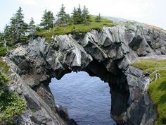 Berry Head Arch, Newfoundland, Canada.  Note the set of fractures/jointing in the rock.  .