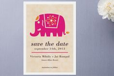Indian Elephant Save the Date Cards by Alex Elko Design at minted.com