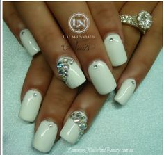 white acrylic nails with gems