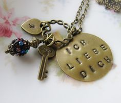Ich Liebe Dich Initial Necklace, vintage style, hand stamped, by romanticcrafts, $22.50