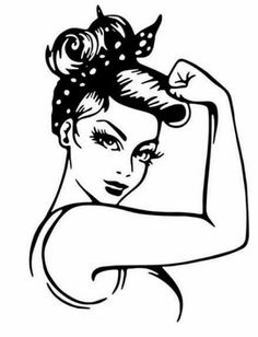 Strong Lady Woman Decal | Mercari Sketches, Drawings, Painting, Silhouette Projects, Art, Coloring Pages, Girl Power Ideas, Pop Art, Stencils