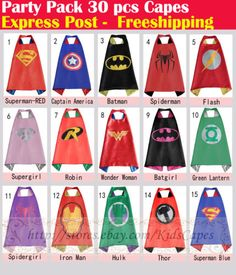 Party-Pack-30pcs-superhero-capes-for-kids-Birthday-party-supplies-Only-Capes