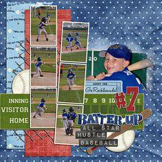 "Sports layout - great baseball colors love the small ""photo booth&q Baseball Scrapbook, Scrapbook Cards, Scrapbook Sketches, Scrapbook Page Layouts, Digital Scrapbooking, Scrapbooking Ideas, Time Kids, 6 Photos, Photo Layouts"