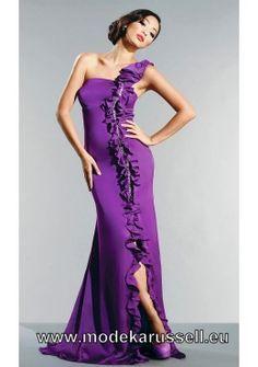 Elegantes One Shoulder Abendkleid in Lila Lang