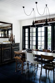 Dark timber in eclectic industrial style dining room. Timber Furniture, Decor, Furniture, Luxury Outdoor Furniture, Inspired Homes, Stylish Living Room, Home, Timber, Colorful Interiors