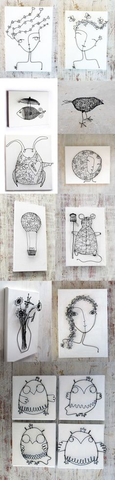 Metal wire, pliers, canvas. Lots of inspiration here.