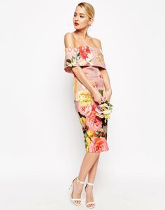 Find the best selection of ASOS WEDDING Printed Bardot Off The Shoulder Hitchcock Midi Pencil Dress. Dresses Uk, Nice Dresses, Evening Dresses, Summer Dresses, Floral Dresses, Tall Dresses, Wedding Robe, Asos Wedding, Floral Wedding