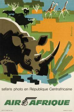 Air Afrique Rhinoceros poster