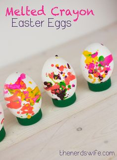 Melted Crayon Easter Eggs -- a fun, colorful way to decorate hard-boiled eggs!