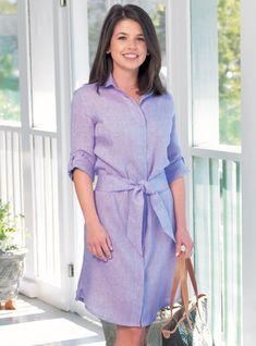 Ladies Linen Shirtdress in Purple