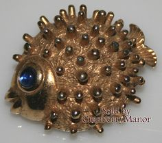 Castlecliff Brooch Pin, Blue Eyed Rhinestone Gold Textured Puffer Fish Sea Ocean Beach Figural, Vintage 1960s Designer Costume Jewelry J2332