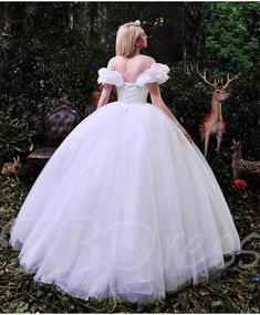 Fancy Off the Shoulder Ruffles Cinderella White Tulle Ball Gown Wedding Dress Puffy Wedding Dresses, Inexpensive Wedding Dresses, Affordable Bridesmaid Dresses, Bridal Dresses, Wedding Gowns, Cinderella Wedding, Cinderella Dresses, Cinderella Movie, Cinderella Costume