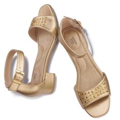 """Open toe bronze metallic leather-like sandal with adjustable ankle strap and goldtone studs on the vamp. Features Cushion Walk® insole with padded arch support and heel. Whole sizes only. Half sizes, order one size down.· Heel: 1 1/2"""" H· Cleaning: Wipe with a dry cloth· Imported"""