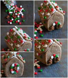 mini gingerbread houses (made with ONE cookie cutter)   Bake at 350