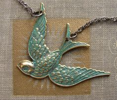 Mint and gold brushed bird necklace