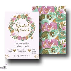 Mint Green Pink Bridal Shower Invitation Floral Watercolor