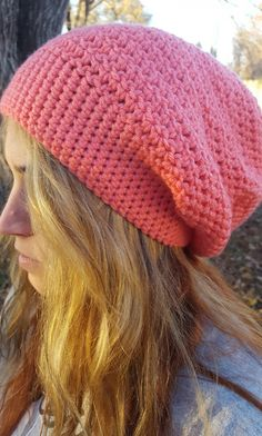 Check out this item in my Etsy shop https://www.etsy.com/listing/490729350/coral-slouchy-beanie-hat-coral-womens