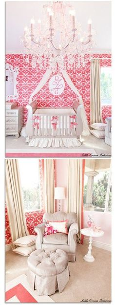 Elegant Baby Nursery!  I also think that this would be nice for toddler or 'tween' room too. Love the chandelier and the pink + white.