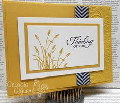handmade greeting card ... short and wide format ... mustard yellow card base, main panel, matting panel and image ink ...  grasses from Wetlands ... black and white chevron ribbon band ,,, partial panel texture fomr embossing folder ... like this card ... Stampin' Up!