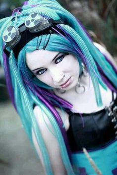 Goth in Blue #goth #gothic #hairstyles