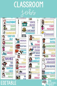 Get your elementary students involved in classroom duties with class jobs. Display job cards with pictures in your classroom for students to easily see what their job is. These printable job cards give you 60 editable templates to print and go with the job titles included, or change to meet the needs of your classroom. Use the jobs included on the cards for ideas of jobs to add to your classroom. This resource comes with a simple chart to track which students have held each job. #classjobs Classroom Jobs Board, Classroom Job Chart, Future Classroom, Classroom Activities, Classroom Organization, Classroom Decor, Classroom Management, Class Jobs, Student Jobs