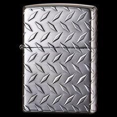 silver corrugated metal zipper lighter