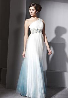White One Shouder Gauze Satin Prom Formal Ball Long Evening Dress