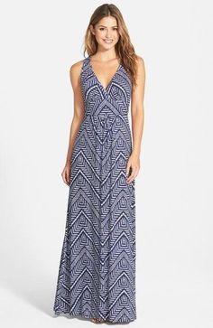 Love this maxi dress! Dark blue/navy is my favorite color. I love the pattern throughout the dress, the v-neck for nursing access, and the length to keep me covered but still cool for summer.